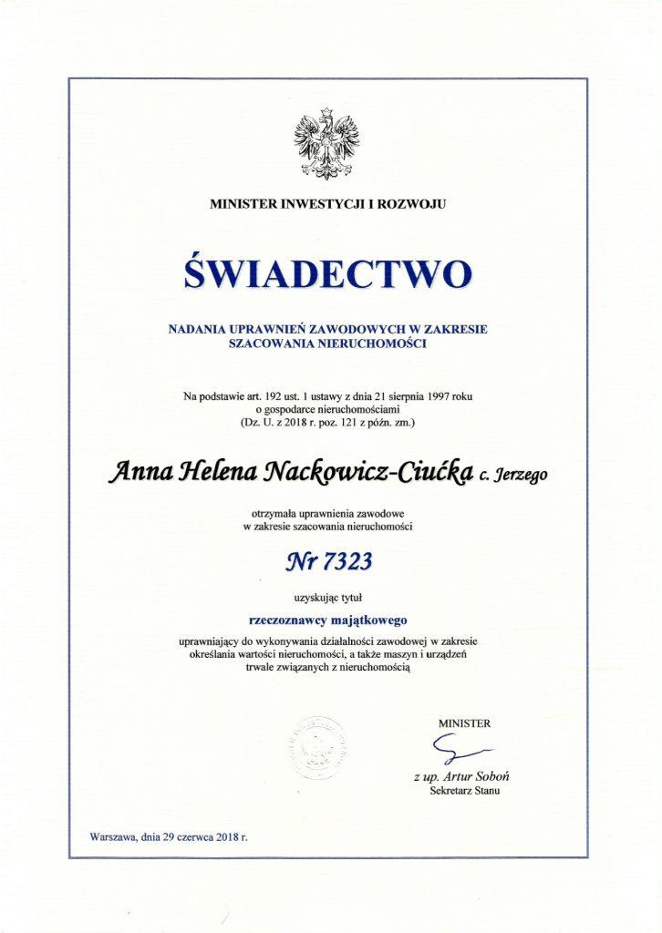 Anna rzeczoznawca majątkowy Głuchołazy świadectwo nadania uprawnień przez Ministra Inwestycji i rozwoju nr 7323 z dnia 29.06.2018